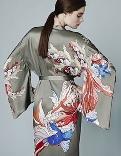 Show your true colours in our Red Flower kimono in sage - MENG -
