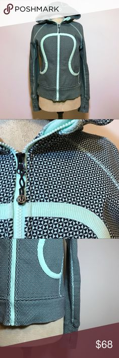 Lululemon Scuba Hoodie Seafoam Mint Green Black 8 Lululemon scuba hoodie in a size 8–stitching, interior, and exterior design is a unique teal/sea foam/mint green color with triangular black pattern—photos hardly do it justice! lululemon athletica Tops Sweatshirts & Hoodies