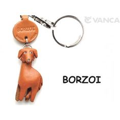 GENUINE 3D LEATHER BORZOI DOG KEYCHAIN MADE BY SKILLFUL CRAFTSMEN OF VANCA CRAFT IN JAPAN.