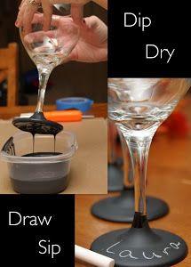 Ideas DIY para vasos y copas. Desde una lamparita hasta unos identificadores con pintura de pizarra. Si todavía no lo has visto, ¡no te lo pierdas!