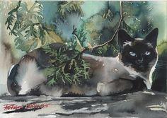 Siamese CAT Original Watercolor Painting Blue Eyes CAT ART Artwork Picture | eBay