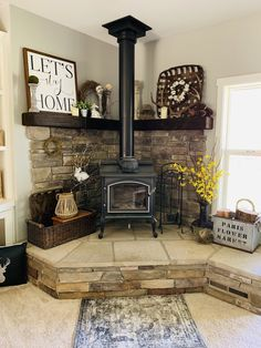 Wonderful Cost-Free Pellet Stove living room Strategies Pellet ovens are an easy way to save cash whilst hot while in those laid back winter time from home. Owning a . Home Fireplace, Corner Wood Stove, Stove Decor, Wood, Stove, Pellet Stove, Wood Stove Decor, Pot Belly Stove, Corner Fireplace