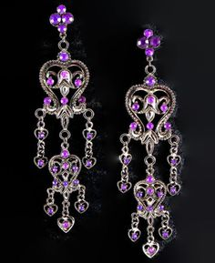 Vintage-Deco-Chic-Red-Carpet-Gypsy-Wicca-Goth-Bling-Statement-Chandelier-Earring