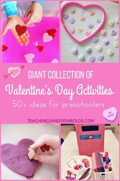 These 50 Preschool Valentine's Day Activities are sure to add some heart-shaped fun to your preschool classroom. Includes ideas for all categories of learning! Teaching 2 and 3 Year Olds Valentine Theme, Valentines For Kids, Valentine Day Crafts, Holiday Crafts, Valentines Hearts, Holiday Fun, Holiday Ideas, Valentine Stuff, Valentine Ideas
