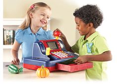 Teaching Cash Register and over 7,500 other quality toys at Fat Brain Toys. Count bills & coins, make change, run credit cards, scan items, weigh things - Life skills increase exponentially! A talking voice even guides children through 4 games of counting, adding, subtracting, and price-writing.