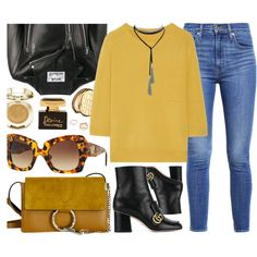 Sunday by smartbuyglasses-uk on Polyvore featuring Chloé, Acne Studios, Levi's, Gucci, GUESS, Versace, Milani, Estée Lauder, Dolce&Gabbana and yellow