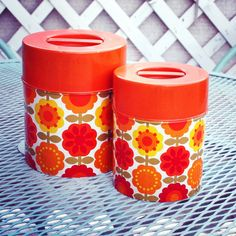 Vintage 1970s Tin Storage Canisters with Flowers by FeetontheFloor, $22.00