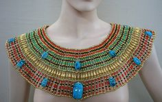 Huge Egyptian Hand Made Beaded Cleopatra Necklace Collar