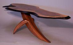 Walnut coffee table, very organic form