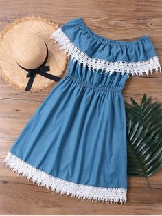 Shop for Lace Trim Overlay Off The Shoulder Dress DENIM BLUE: Casual Dresses M a… - blackstars. Girls Fashion Clothes, Teen Fashion Outfits, Look Fashion, Stylish Outfits, Girl Outfits, Fashion Dresses, Womens Fashion, Cute Casual Dresses, Simple Dresses