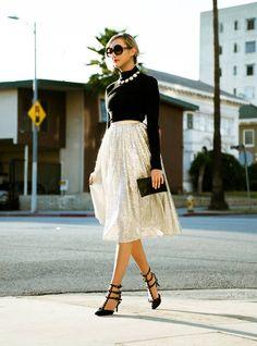Alice + Olivia Silver Sequin Tulle Midi Skirt
