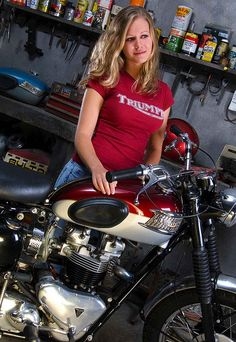 We want to see more Girls on Motorcycles – Carpy's Cafe Racers Triumph Motorbikes, Triumph Motorcycles, Triumph Bonneville, Triumph T120, Custom Motorcycles, Lady Biker, Biker Girl, Best Motorbike, Motorcycle Outfit