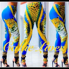 """African Tiger Gold Versace like BodyCon Leggings Tag Size: One Size Plus  Fits: PLEASE SEE LAST PHOTO FOR FIT/ SIZE DETAILS I'm wearing the PLUS size in the photos. My waist is 30"""" and my hips are 42"""" I weigh 155 lbs at 5'6"""". Just add a solid crop top, a Sheer tank or a cross body clutch from other listings by Callie Lives LaLaLand and you have a brand new outfit! Callie Lives Pants Leggings"""