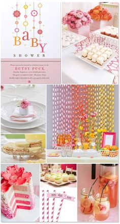 Orange & Pink Girl Baby Shower