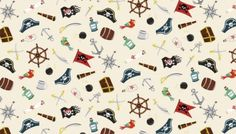 1672-Q Pirate Icons Scattered on Cream from Makower and Henley Studios
