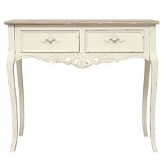 Featuring a distressed ivory painted finish, this Camille dressing table is designed with two ample sized storage drawers. Crafted with elements of solid pine, . Antique White Furniture, Cream Furniture, Distressed Furniture Painting, Weathered Furniture, Furniture Sale, Furniture Movers, Painted Furniture, Dressing Table Dunelm, Dressing Table Oak