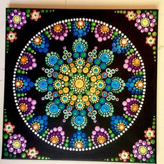 purple, blues and yellows dot mandala Mandala Canvas, Mandala Artwork, Mandala Painting, Rock Painting Patterns, Dot Art Painting, Stone Painting, Mandala Design, Mandala Pattern, Mandela Art