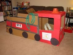 Cardboard fire truck for dramatic play {this would be perfect for fire safety week!}