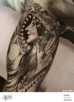 This is the artist I want to work with for my mastectomy tattoos!!! Tattoo by David Allen, Art by Alphonse Mucha