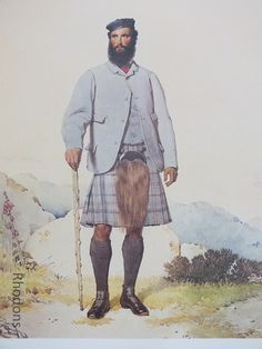 James Morgan, Scottish Clansman Print by Kenneth Macleay RSA. Vintage colour bookplate print from an original watercolour painting by Kenneth Macleay RSA, circa 1860s.