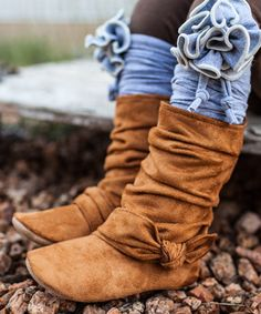 Look at this Gracious May Chestnut Brown Ruched Suede Boot on #zulily today!