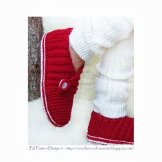 Sophie and Me: RED SEASON RIB WRAP CROCHET SLIPPERS