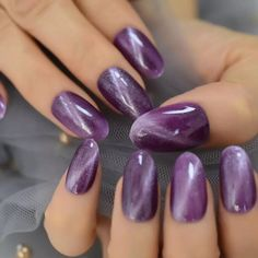 Excited to share this item from my shop: Lavender Purple Cat Eye False Nails Short Medium Oval Round Artificial Acrylic Nail Art Tips Predesigned Shimmer Ongles,purple cat eye nail Cat Eye Nails, Aycrlic Nails, Uv Gel Nails, Glue On Nails, Manicures, Rounded Acrylic Nails, Short Square Acrylic Nails, Acrylic Nail Tips, Purple Nails