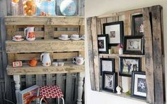 salvaged wood shelves and decorative wall panel