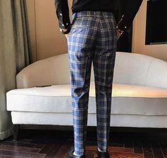 Men Dress Pant Plaid Business Casual Slim Fit Pantalon A Carreau Homme Classic Vintage Check Suit Trousers Wedding Pants Men Trousers, Mens Trousers Casual, Mens Dress Pants, Plaid Pants, Trouser Suits, Men Dress, Men Pants, Suit Pants, Casual Pants
