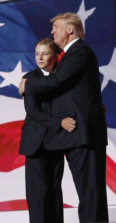Like father like son: The youngest of the billionaire's children sported a navy blue colored suit with a navy blue tie, as he matched his father's normal uniform Thursday night at the Republican National Convention Donald Trump Family, Donald And Melania Trump, First Lady Melania Trump, Trump Is My President, John Trump, Juan Pablo Ii, American Presidents, American Pride, Pro Trump