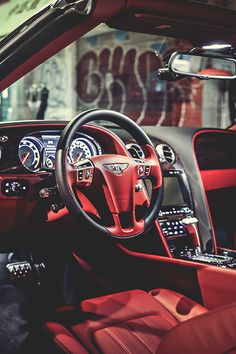 Red leather in the Bentley.