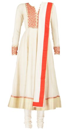 Offwhite and red full sleeves cotton anarkali with embellished yoke and cuffs and matching churidar and dupatta by Pratima Gaurav. Shop at https://www.perniaspopupshop.com/whats-new/pratima-gaurav-6