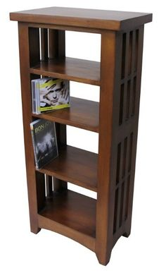 This is Mahogany CD/DVD Portland Rack's colour is Dark Wood and made of Mahogany.  The height of this Mahogany CD/DVD Portland Rack is 94CM and the width is 43CM and the depth is 26CM.  http://www.bonsoni.com/mahogany-cd-dvd-portland-rack