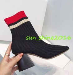 Women Knitted Fabric Mid Calf Sock Boots Chuncky Block Heel Pull On Chic Shoes Punk Shoes, Calf Socks, Clubwear, Knitted Fabric, Block Heels, Ankle Boots, Chic, Women, Fashion