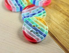 Rainbow Plastic Buttons -  Blue Tint Rainbow Color Translucent Candy Buttons, 2 holes. 0.47 inch. 10 in a set by Lyanwood, $3.50