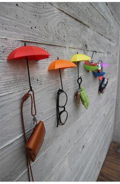 So cute <3 3Pcs Creative Umbrella Shape Home Decoration Hook Paste Storage Pothook Novelty Wall Decor