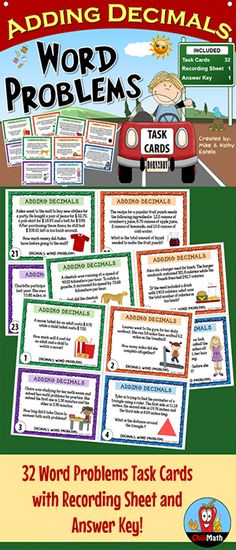 This resource includes thirty-two (32) task cards designed to help students strengthen their skills on adding decimal numbers. It contains a variety of word problems that allow students to not only practice the computational aspect of adding decimals, but also appreciate its importance when applied in real world scenarios. Teaching Fractions, Math Fractions, Teaching Math, Adding Decimals, Dividing Decimals, Math Teacher, Math Classroom, Math Skills, Math Lessons