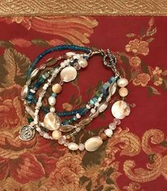Neon Apatite, Peruvian Opal, Topaz, Fresh water Pearl, Peridot, sterling silver charm, beaded 5 strand, summer, beach, woman's bracelet QB26