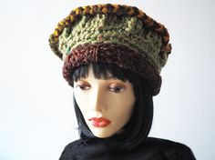 Green hat, Ready to ship, Fashion knit hat, Crochet multi cloche, Olive green & brown hat, Womans chunky knit hat, Winter warmer