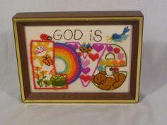 """Vintage MOD Crewel Embroidery """"God is Love"""" Framed Sunset #647 1979"""