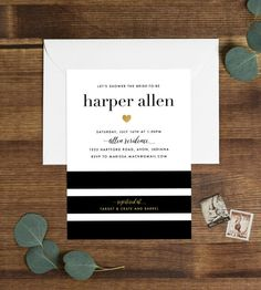 Printable Kate Spade Inspired Bridal Invitation | Stripes, Modern, Chic Bridal Shower, Customizable