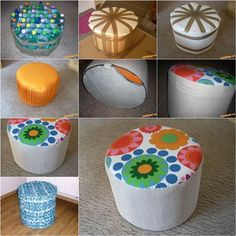 How to DIY Simple Ottoman from Plastic Bottles