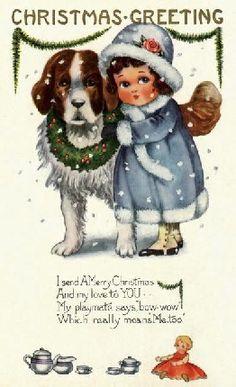 Merry Christmas - Vintage - Postcard - Christmas Greeting