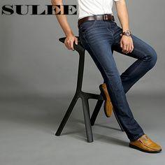 >> Click to Buy << Sulee Brand Autumn Winter Straight Distressed Jeans European Denim Jeans Heavyweight  Italian Style  Men's Biker Jeans Dark Blue #Affiliate