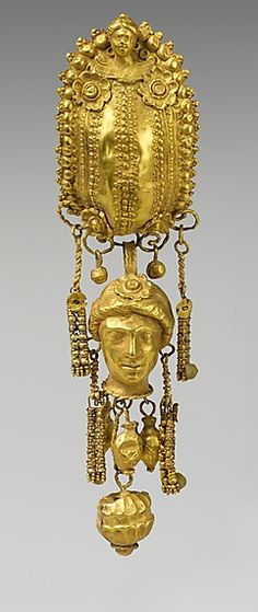Earring with pendants and female head, Period Hellenistic, 3rd century B.C., Culture Etruscan, Gold and Silver.