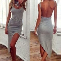 Backless Irregular Bodycon Club Dress