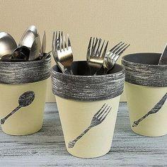 Utensil Terra Cotta Pots -- Stash flatware stylishly in terra cotta pots with a chalky finish.