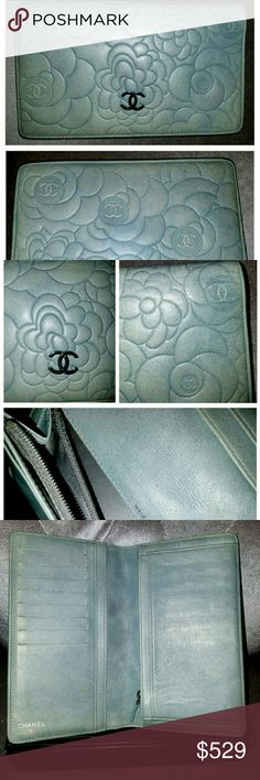 "Chanel lamb skin camellia sky blue wallet Chanel Lambskin Camellia Embossed Bifold Long Wallet in grayish light blue. PRICE FIRM. No offers please. this is a pre-owned item in very good condition. please see all the pictures for details. 100% Authentic, now all sold out and hard to find. the color is beautiful with unique texture. some fine wrikles on corners but no tear or stain. Also some minor scuffs on the metal logo 4.5 "" length x 7.25"" width when opened; 7"" length x 8.75"" width Comes…"
