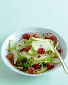 Apple, Grape & Celery Salad - Apples and grapes, which shine right now, take center stage in this mayo-free reinterpretation of Waldorf salad. Toasted pecans offer some crunch.