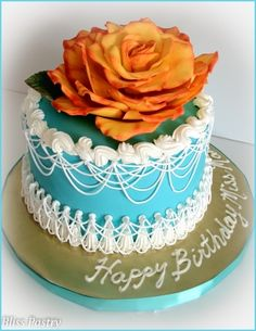 Teal and Orange Birthday By Bliss Pastry on CakeCentral.com